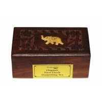 Gift Pack Wood Box (Full Carving) Darjeeling Tea 50gm